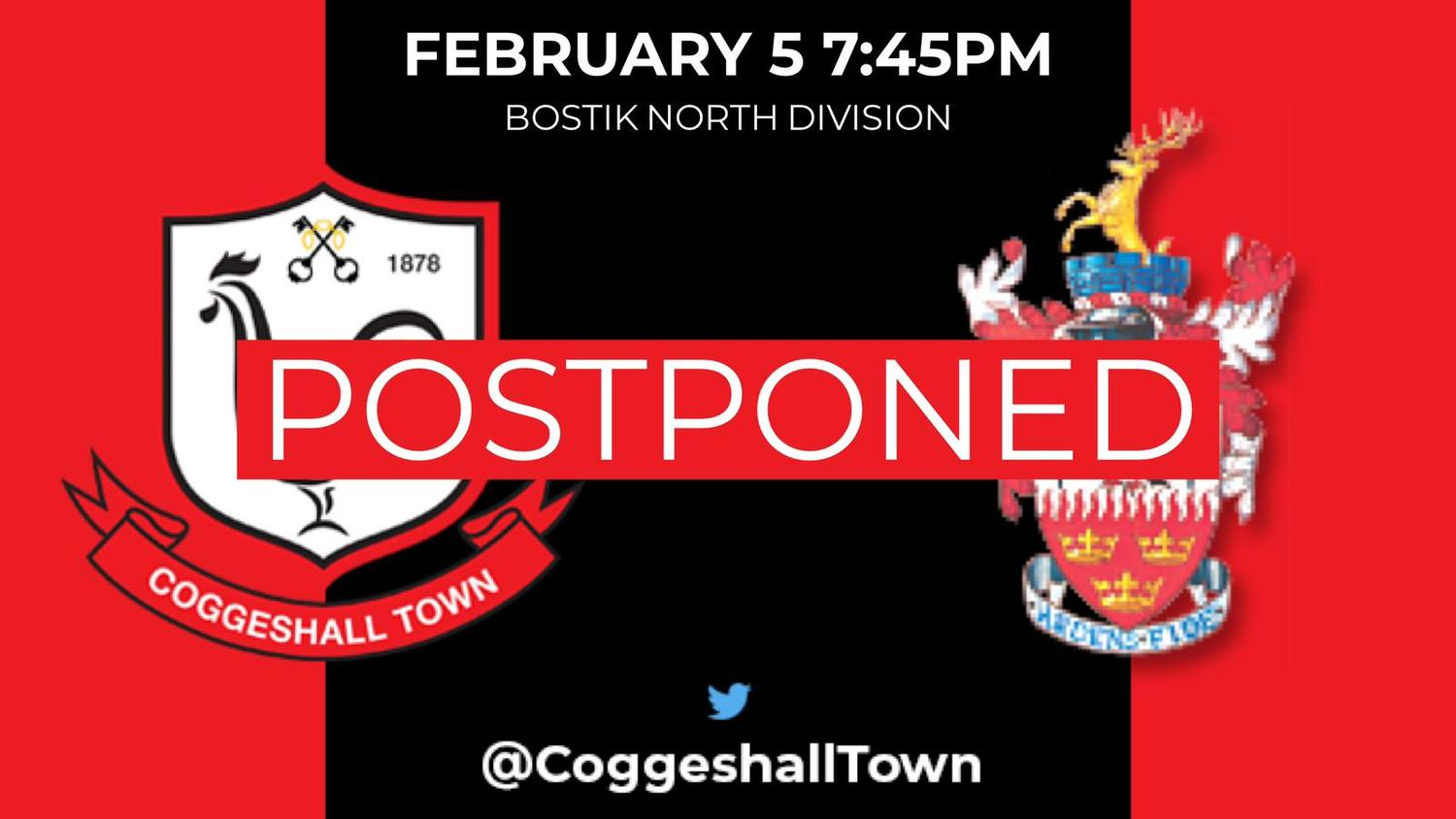 Match Postponed – Brentwood Town