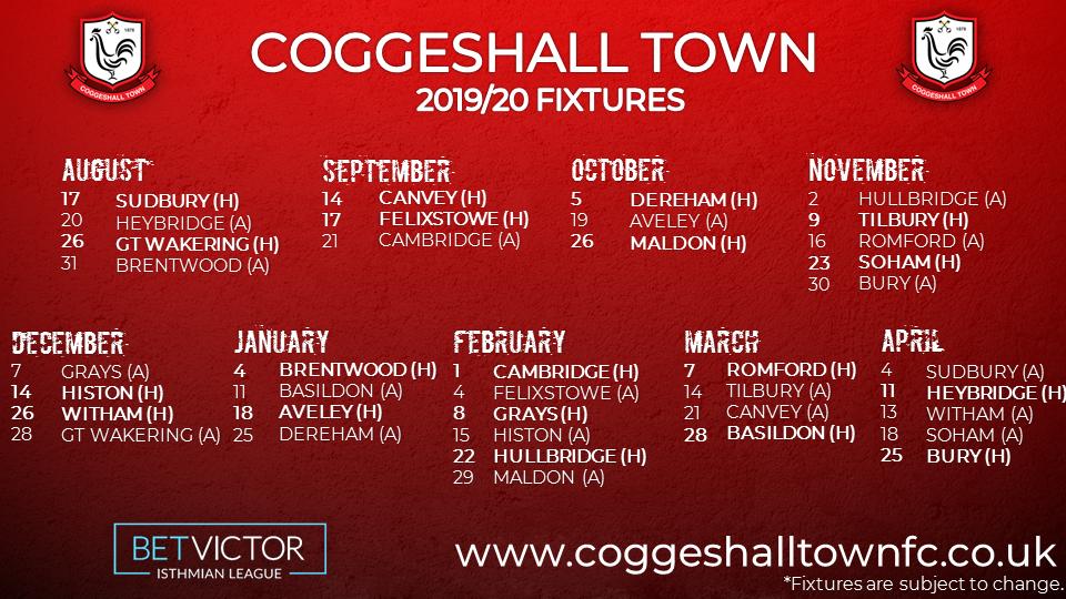 2019/20 League Fixtures